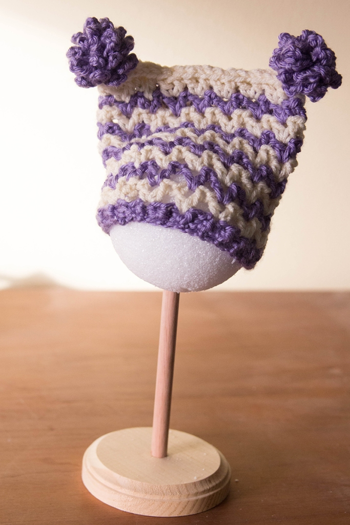 purple chevron pompom hat | Desiree Prakash Studio
